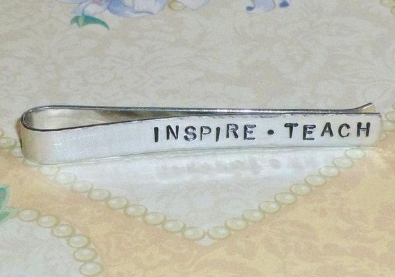 Mens Inspire Teach Hand Stamped Aluminum Tie Bar Tie Clip