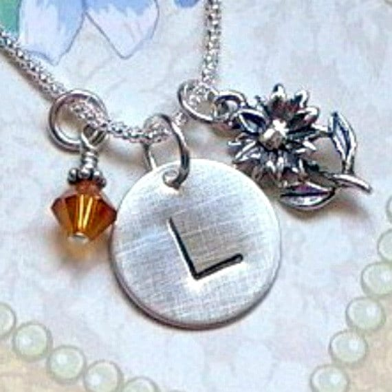 Personalized Sunflower Hand Stamped Sterling Silver Initial Charm Necklace