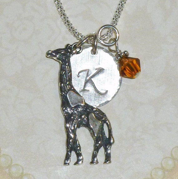 Personalized Giraffe Hand Stamped Sterling Silver Initial Charm Necklace