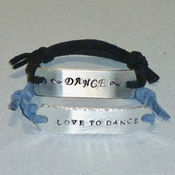 Love to Dance Hand Stamped Aluminum and Faux Suede ID Bracelet