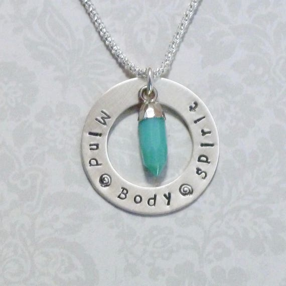 Mind Body Spirit Hand Stamped Sterling Silver Washer Necklace with Green Chrysoprase Gemstone Spike Pendant