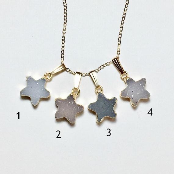 Celestial Druzy Star Pendant Necklace