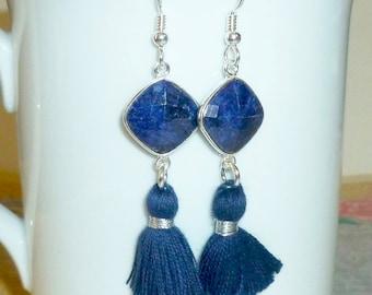 Sapphire Gemstone Blue Tassel Earrings, Boho Jewelry