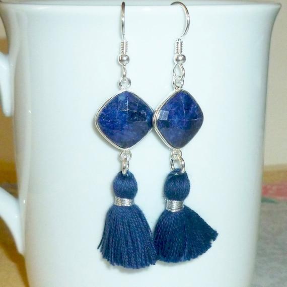 Blue Sapphire Gemstone Tassel Earrings