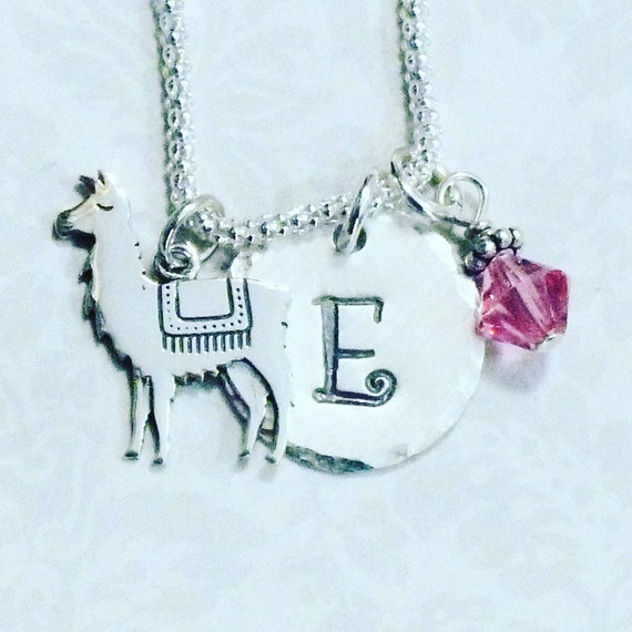 Llama Hand Stamped Sterling Silver Initial Charm Necklace