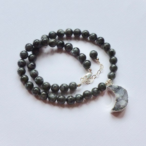 Beaded Larvikite and Druzy Quartz Crescent Moon Gemstone Choker Necklace