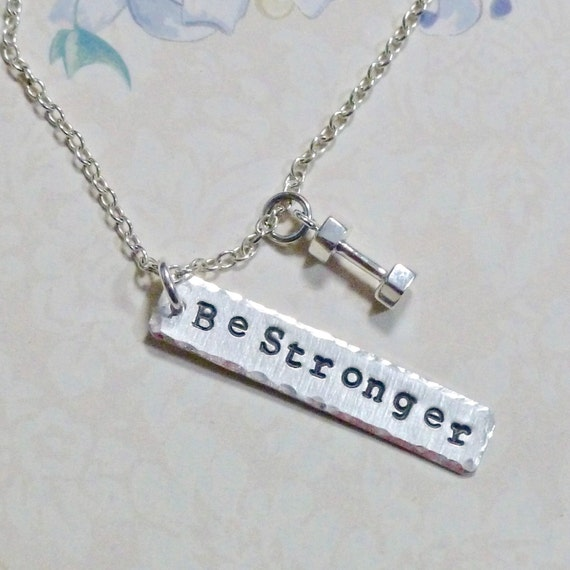 Personalized Dumbbell Hand Stamped Sterling Silver Fitness Charm Necklace