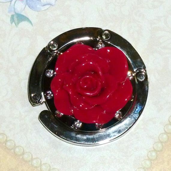 Purse Holder Resin Rose Flower Folding Purse Bag Hanger