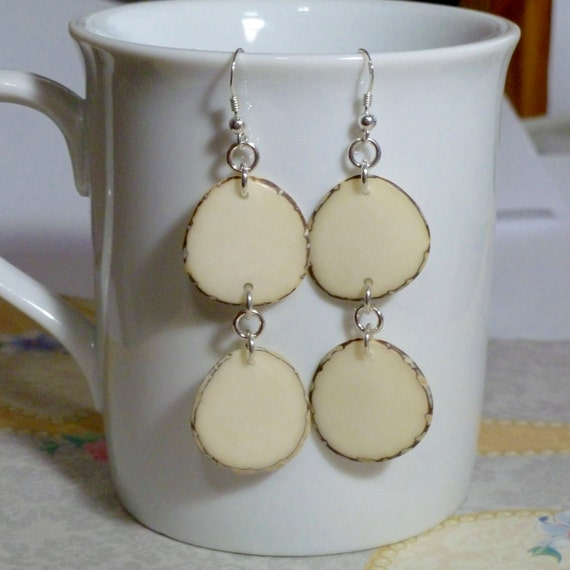 Ivory Tagua Nut Slice Hanging Sterling Silver Earrings