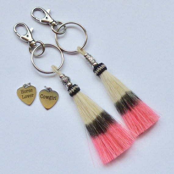 Equestrian Cowgirl Beaded Bright Bubble Gum Pink Horse Hair Tassel Keychain