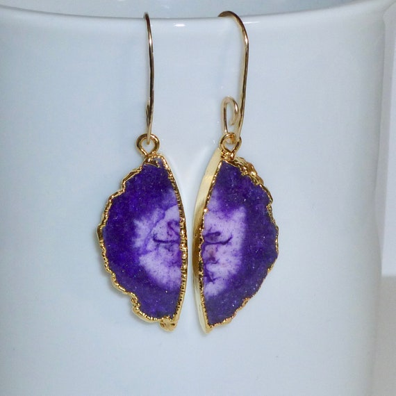 Dark Purple Solar Quartz Semicircle Slice Earrings with Artisan Handmade Gold Fill Ear Wires