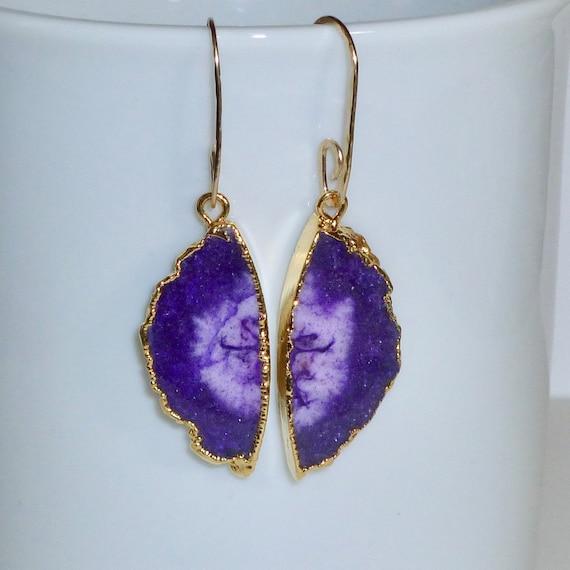Dark Purple Solar Quartz Semicircle Slice Earrings with Artisan Handmade Gold Fill Ear Wires