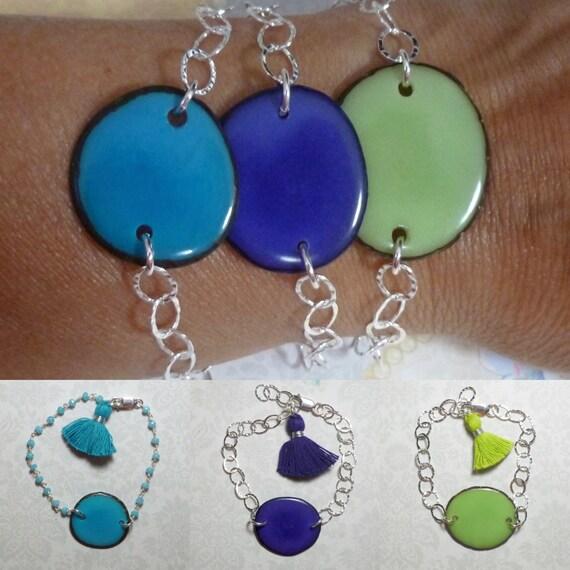 Tagua Nut Sterling Silver Hammered Cable Link Tassel Bracelet - You Choose One Color
