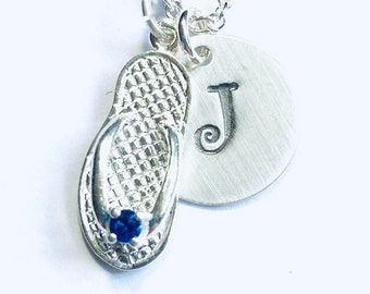 September Sapphire Birthstone Flip Flop Hand Stamped Sterling Silver Initial Charm Necklace, Beach Jewelry