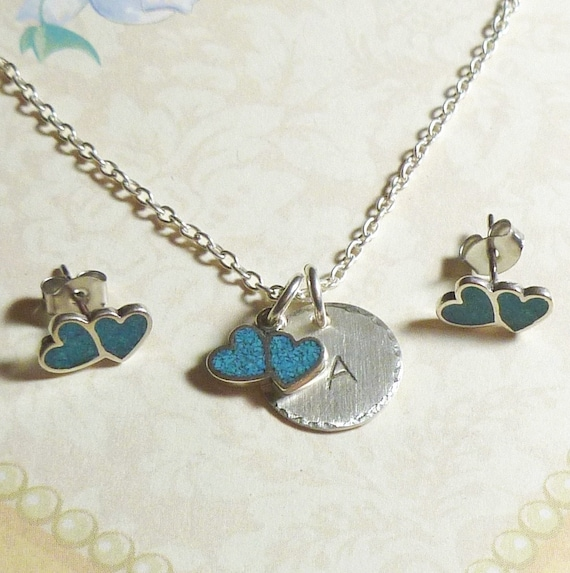 Personalized Double Heart with Turquoise Inlay Hand Stamped Sterling Silver Initial Charm Necklace and Earring Jewelry Set