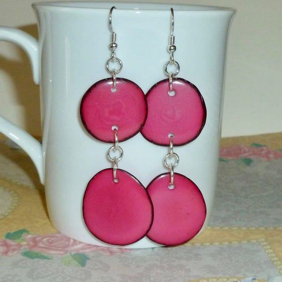 Hot Pink Tagua Nut Slice Hanging Sterling Silver Earrings
