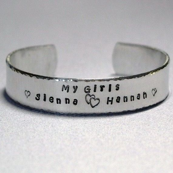 Custom Personalized Family My Girls My Boys My Kids Hand Stamped Aluminum Cuff Bracelet