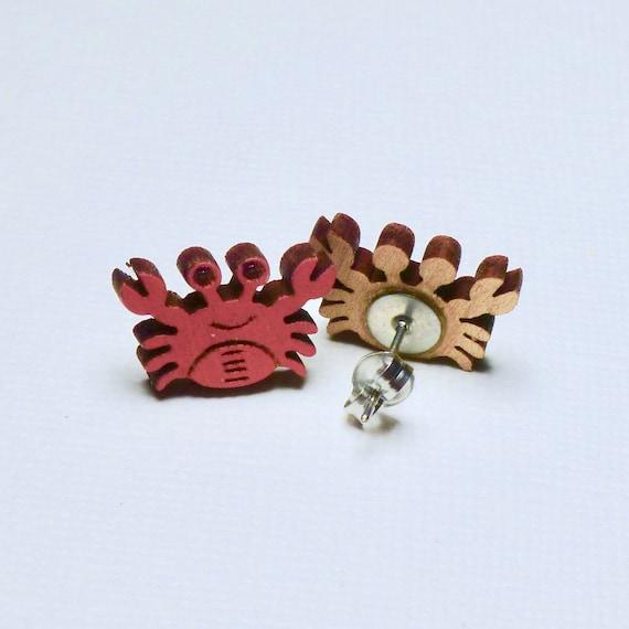 Hand Painted Laser Cut Wood Crab Stud Earrings