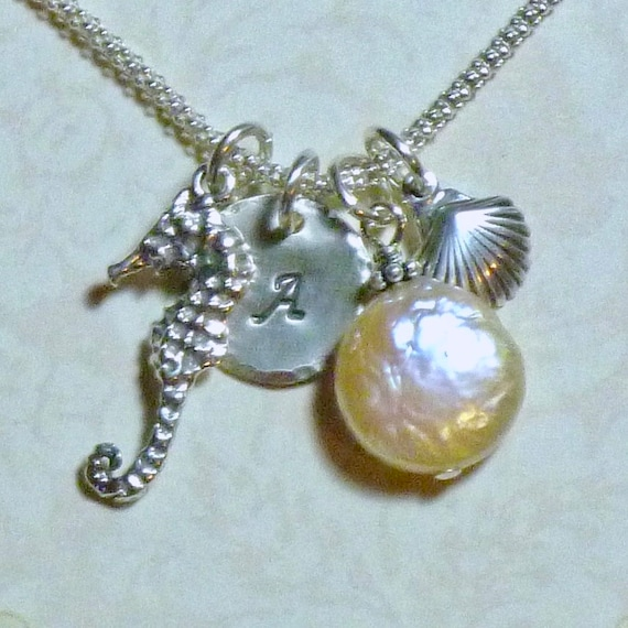 Personalized Sea Horse and Shell Hand Stamped Sterling Silver Initial Charm Necklace with Coin Pearl