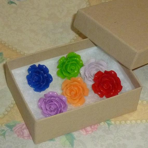 Mixed Color Decorative Resin Rose Flower Cabochon Push Pin Thumb Tacks - Set of 6
