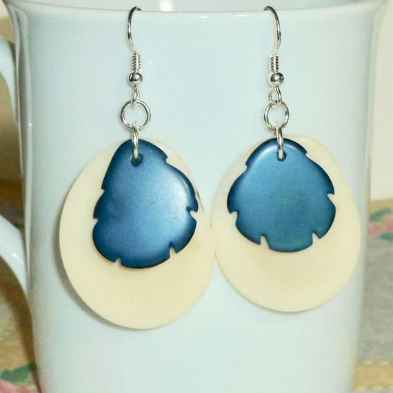 Natural and Teal Tagua Nut Slice Earrings