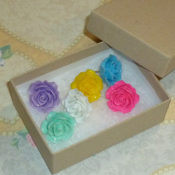 Decorative Resin Rose Flower Cabochon Push Pin Thumb Tacks - Set of 6 Mixed Colors