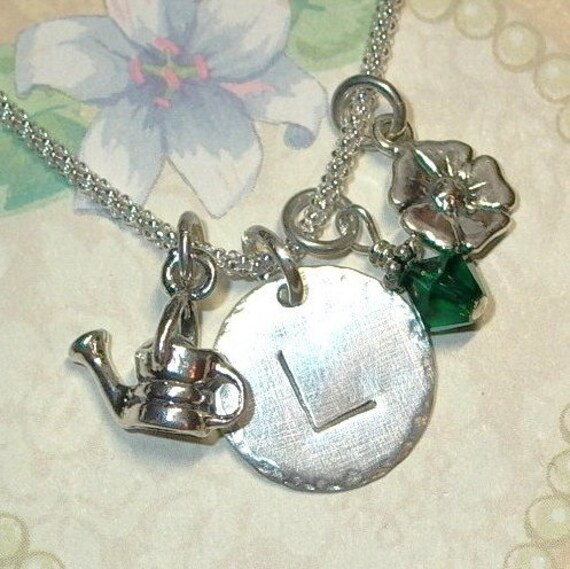 Personalized Garden Watering Can Flower Hand Stamped Sterling Silver Initial Charm Necklace