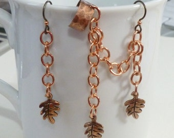 Autumn Copper Oak Leaf Earring Cuff Set with Chain