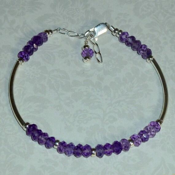 Amethyst Gemstone Sterling Silver Curved Tube Adjustable Bracelet