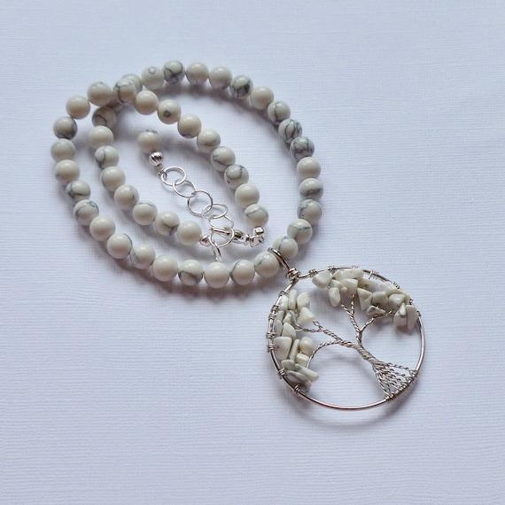 Tree of Life Beaded White Howlite Gemstone Choker Necklace
