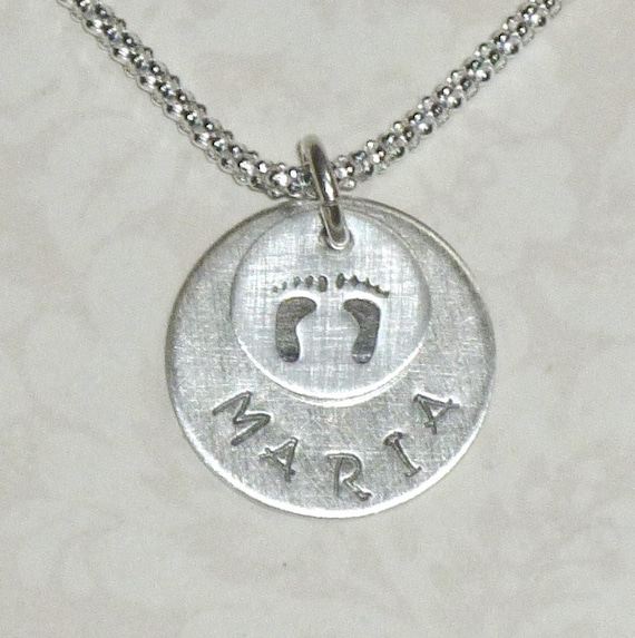 Personalized Mothers Baby Name and Foot Prints Hand Stamped Sterling Silver Charm Necklace
