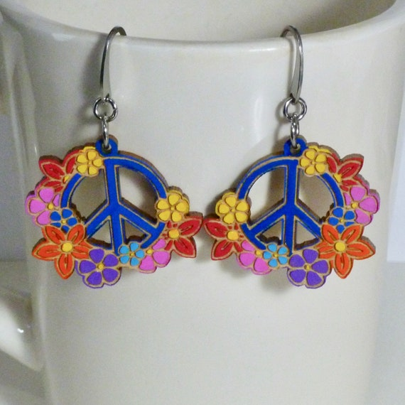 Floral Peace Sign Hand Painted Laser Cut Wood Earrings