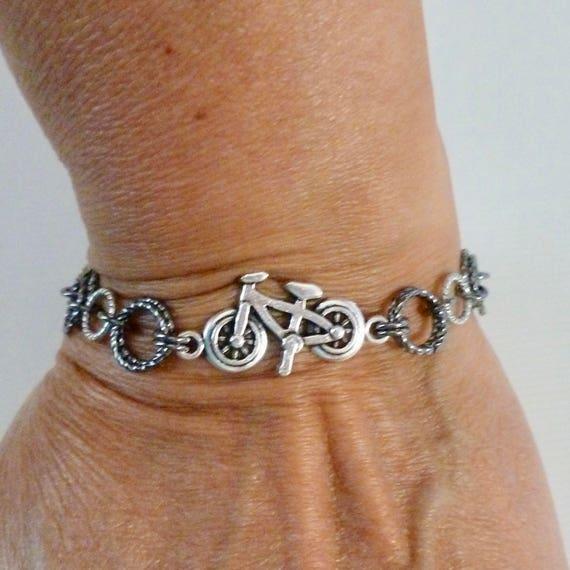 Bicycle Bracelet, Silver and Gunmetal Bicycle Chainmaille Charm Bracelet, Chain maille Bicycle Jewelry