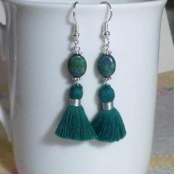 Azurite with Gold Pyrite Gemstone Tassel Earrings