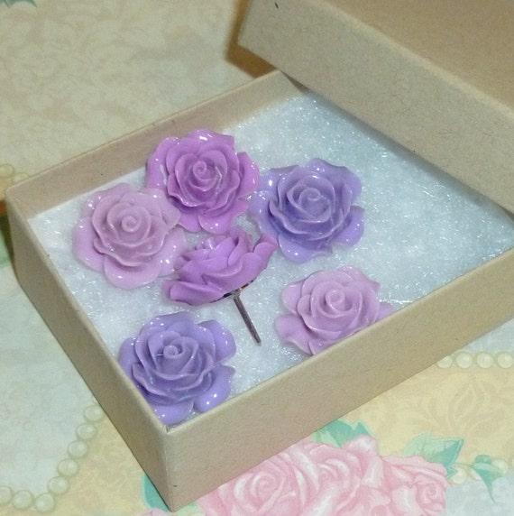 Shades of Purple Decorative Resin Rose Flower Cabochon Tacks - Set of 6