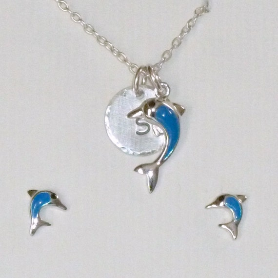 Personalized Dolphin Hand Stamped Sterling Silver Petite Initial Charm Necklace and Earring Jewelry Set