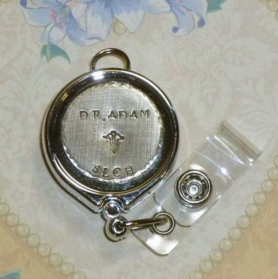 Personalized Doctor or Nurse Hand Stamped ID Badge Reel Holder or Keychain in Silver