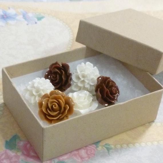 Decorative White and Brown Resin Rose and Chrysanthemum Flower Cabochon Push Pin Thumb Tacks