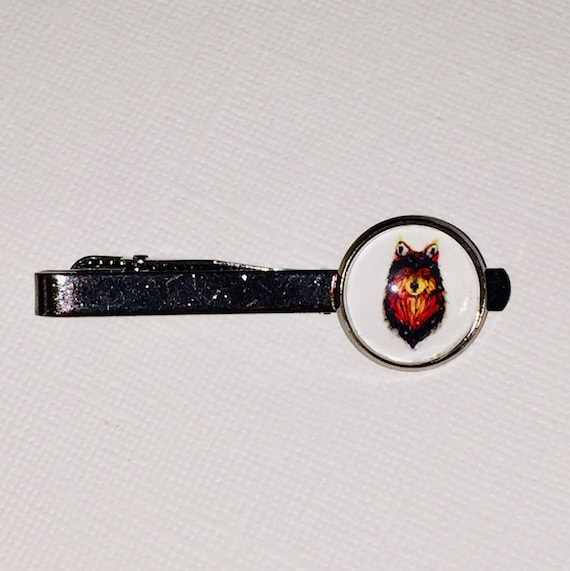 Fire Spirit Wolf Gunmetal Tie Bar