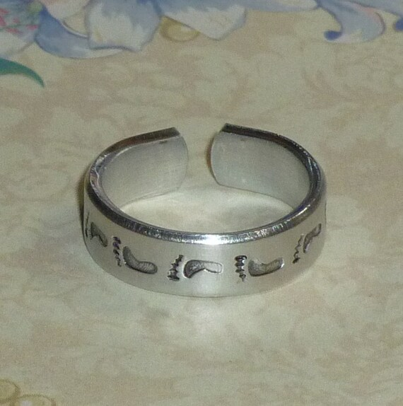 "Footprint Hand Stamped Aluminum Band Ring - 1/4"" wide"