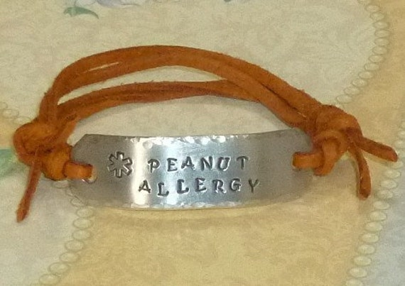 Peanut Allergy Medical Alert Hand Stamped Aluminum and Faux Suede ID Bracelet