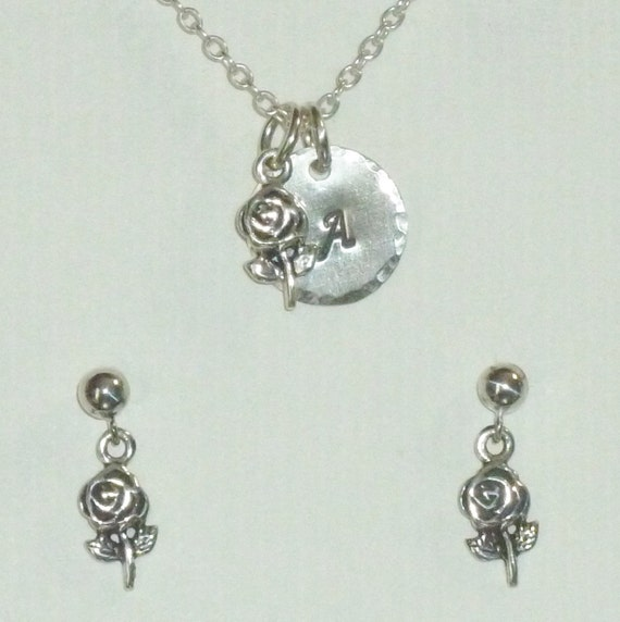 Personalized Rose Flower Hand Stamped Sterling Silver Petite Initial Charm Necklace and Earring Jewelry Set
