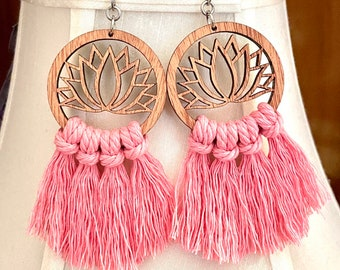 Rose Pink Lotus Flower Macrame Fringe Earrings