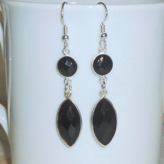 Black Onyx Gemstone Bezel Earrings