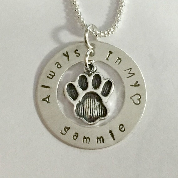 Personalized Hand Stamped Sterling Silver Always in my heart Dog Paw Memorial Necklace