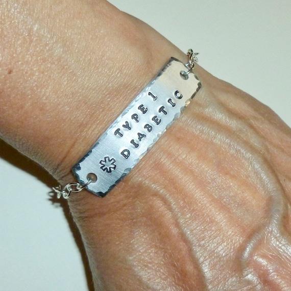 Type 1 Diabetic Medical Alert Hand Stamped Aluminum ID Bracelet
