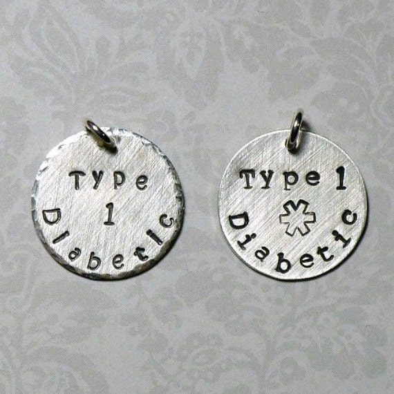 "Medical Alert Hand Stamped Sterling Silver Add On 3/4"" Circle Charm"