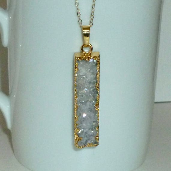 Druzy Quartz Rectangle Vertical Bar Necklace