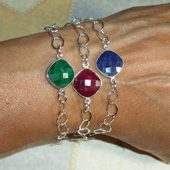 Emerald Ruby or Sapphire Gemstone Sterling Silver Adjustable Stacking Bracelet