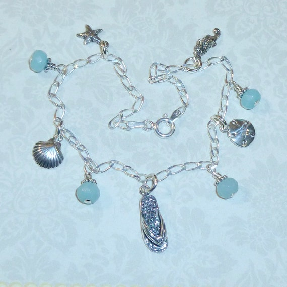 Sterling Silver Beach Anklet, Sterling Silver Starfish Shell Flip Flop Sand Dollar Seahorse Amazonite Gemstone Anklet